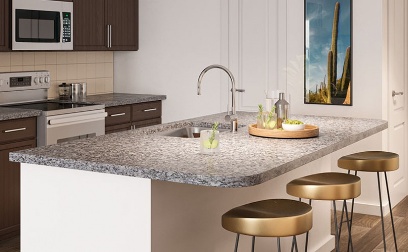 kitchen rendering showing large spaces and an island